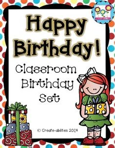 Classroom Birthday Set!Classroom birthdays should be a fun time to celebrate each child individually. This birthday set makes celebrating in your room easy and fun!Included in this set:- birthday bookmarks - birthday cupcake/pencil toppers- summer birthday celebration note home- monthly headers for birthday lists- cupcakes, balloons, present for birthday lists or decorations- birthday certificates (5 different colors, 4 black and white)- birthday girl and birthday boy pages for students to…