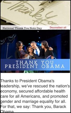 National Thank You Note Day December 26, 2016 THANK YOU THE OBAMA FAMILY GOD BLESS