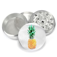 Weed Uv Print Color Pineapple design Design 4 Piece Aluminum Medicinal Herb Tobacco Spice Grinder Crusher Glass Jar Set - PGR067