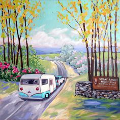 Kristina Wentzell Fine Art: Appalachian Spring-- vintage campers hit the road
