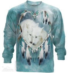 woman's long sleeve tshirt wolf wolf heart by LIBERTYHORSE on Etsy