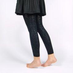 Legging noir opaque à motifs étoiles filantes