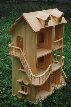 A handmade toy dolls house is made of pine, polished and covered with flax seed oil, so it is environmentally friendly and safe for a child. A house consists of 3 floors and 6 rooms. The height of one floor is 22cm. The house has windows, doors, a balcony and stairways..There are NO nails. A