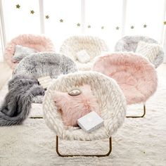 Hang-A-Round Chair, Winter Fox Faux-Fur w/ Gold Base at Pottery Barn Teen - Lounge & Gaming Chairs - Teen & Kids Bedroom Furniture - - Kids Bedroom Furniture, Room Ideas Bedroom, Home Decor Bedroom, Girls Bedroom, Bedroom Sets, Kids Bedroom Chairs, Bedding Sets, Teen Lounge, Jugendschlafzimmer Designs