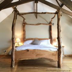 Rustic Oak Four Poster Tree Bed, Beautiful Chunky Wooden Bed Frame, Solid Oak in Home, Furniture & DIY, Furniture, Beds & Mattresses | eBay! Wooden Furniture Bedroom, Oak Bedroom Furniture, Solid Oak Furniture, Home Furniture, Natural Furniture, Country Furniture, Country Decor, Four Poster Bed Frame, 4 Poster Beds
