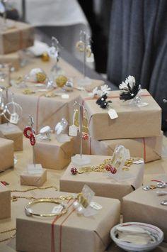 Brown paper packaging jewelry display.