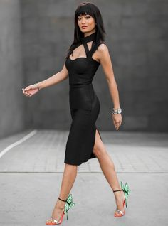 sexy black dress with colorful winged dress