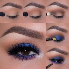 Blue Eyeshadow - Smokey Blue Eyeshadow Tutorial for Beginners Makeup Tutorial 12 Colorful Eyeshadow Tutorials For Beginners Purple Eye Makeup, Skin Makeup, Blue Eyeshadow Makeup, Blue Makeup Looks, Eyeliner, Eye Makeup Steps, Makeup Tips, Makeup Ideas, Makeup Geek