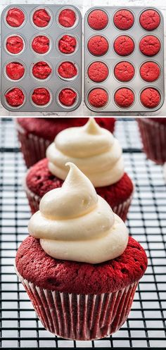 These bloody Red Velvet Cupcakes are perfect for Halloween. Traditional red velvet cupcakes, topped with a cream cheese frosting and decorated with a red icing for a bloody effect. Red Velvet Cupcakes, Velvet Cake, Halloween Cupcakes Decoration, Frosting Tips, Red Food Coloring, Cream Cheese Frosting, Baked Goods, Sweet Treats, Food Porn