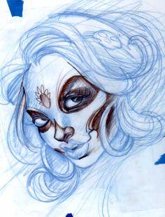 Joe Capobianco :Sketches, and Tattoo's: Female Fantasy Art, Tattoo Galleries, and Tattoo Flash Designs sugar skull girl woman lady Tattoo Flash Art ~A.R.