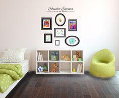 Personalized Kids Art Gallery Wall with Frames - Wall Decal Custom Vinyl Art Stickers.I'd choose black or metallic gold frames. Art Wall Kids, Vinyl Wall Decals, Art For Kids, Kids Art Galleries, Crayon Drawings, Metallic Colors, Metallic Gold, Custom Vinyl, Frames On Wall