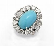 A turquoise and diamond dress ring