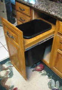 New pull-out trash can adds new life to tired cabinets or replaces warn out appliances.