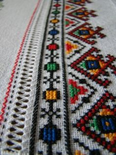 ru / Фото - Великоднi рушнички - My Grandma who was Romanian used to do this sort of handwork on everything. Geometric Embroidery, Hand Embroidery Designs, Beaded Embroidery, Cross Stitch Embroidery, Embroidery Patterns, Machine Embroidery, Cross Stitch Borders, Modern Cross Stitch, Cross Stitch Designs