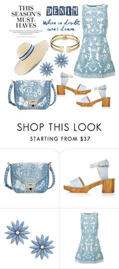 """""""Embroidered Denim"""" by hastypudding ❤ liked on Polyvore featuring Valentino, Topshop, Maison Michel, R.J. Graziano, Alice + Olivia, H&M, Rebecca Minkoff, contest, denimdresses and polyvorecommunity"""
