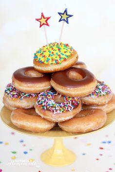 Krispy Kreme Donut Birthday Cake - Happiness is Homemade #HBDKrispyKreme #CG [ad]