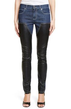 GIVENCHY Bonded Leather Trim Jeans. #givenchy #cloth #