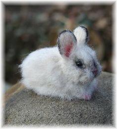 Easter Bunny Baby Rabbit Mini Cinder Artist OOAK Alpaca Needle Felted Sculpture