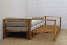 """Single oiled teak daybed expandable to queen bed. Single31.5 x 91.5Height 16"""" Queen60 x 91.5""""Height 12"""" Available in fabric shown. Easy to clean. Bolsters not i"""