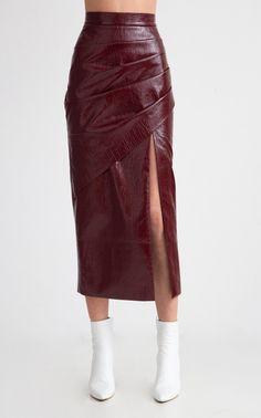 Midi Vinyl Pencil Skirt by Aleksandre Akhalkatsishvili - Rock Pencil Dress Outfit, Pencil Skirt Casual, Pencil Skirt Outfits, Denim Pencil Skirt, High Waisted Pencil Skirt, Dress Outfits, Fashion Outfits, Pencil Skirts, Denim Skirt