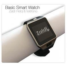 Reloj-Teléfono Smart Zaldi Basic, completo Reloj Bluetooth, con cámara de fotos integrada. Se sincroniza con tu Smartphone para mostrarte registro de llamadas, SMS, reproducción de música, notificaciones, email... Además, te permite aceptar y realizar llamadas cómodamente.