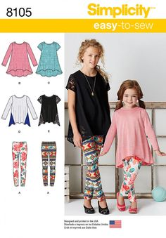 This Easy-to-Sew knit tunic and leggings pack for child and girl is a must have essential. Make tunic and leggings in a multitude of colors and prints for an outfit that can be worn for endless hours of fun. #Simplicity 8105 #kids #sewing #sewingforkids #stitching #pattern