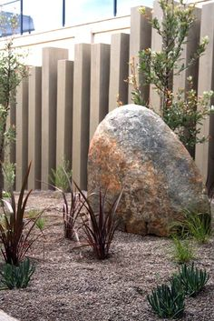 Drough tolerant plantings of coastal banksia, purple flax and blue chalk sticks in gravel mulch with feature granite boulders and vertical timber beams. Mt Martha House. www.marktraversla.com