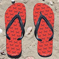 Crew Crossed Oars Pattern on Orange Flip Flops - Kick back after a race with these great flip flops! Fun and functional flip flops for all rowers and fans.