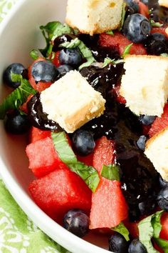 Watermelon Salad with Lemon Cake Croutons and Blueberry Balsamic Glaze