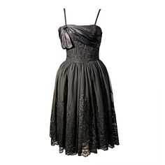 Pre-owned Mainbocher 1950s Chantilly Lace Dress ($1,250) ❤ liked on Polyvore featuring dresses, cocktail dresses, evening dresses, white dress, little black dress, white wrap dress, white lace dress and white cocktail dresses