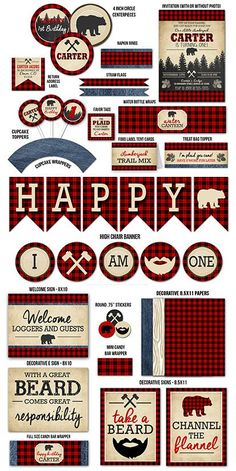 Printable Plaid Lumberjack Birthday Party Package | Flannel | Boys 1st Birthday Decorations | Fall or Winter Party | Plaid Bear | Channel the Flannel | Beard | Signs | Thank You | Invitation | Banner | Favor Tag | Cupcake Topper | Food Labels and more!