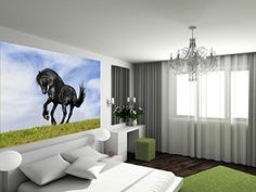 Startonight Mural Wall Art Photo Decor Black Horse Large 8-feet 4-inch By 12-feet Wall Mural for Living Room or Bedroom