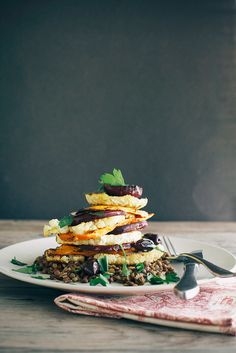 lemon rosemary vegetable stack with lentils + creamy horseradish vinaigrette » The First Mess // Plant-Based Recipes + Photography by Laura Wright