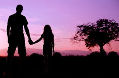 dad holding hand to girl silhouette - Google Search