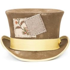 Nick Fouquet 'Mad Hatter' top hat ($2,670) ❤ liked on Polyvore featuring accessories, hats, band hats, top hat, brimmed hat, stitch hat and patch hat