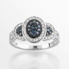 Sterling+Silver+1/2-ct.+T.W.+Blue+&+White+Diamond+Oval+Frame+Ring
