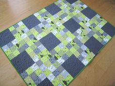 Nine patch lattice baby quilt