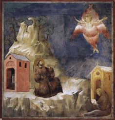 Stigmatization of St. Francis -  1297-1900 - by Giotto - Legend of St Francis Series. Location: San Francesco, Upper Church, Assisi, Italy