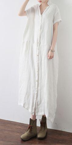 Simple White V Neck Vacation Dress Summer Linen Dress White Linen Dresses, Cotton Dresses, Casual Summer Dresses, Dress Summer, White V Neck Dress, Vacation Dresses, White V Necks, Diy Dress, Simple