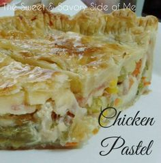 In Philippines, this dish is called Chicken Pastel, just like chicken pot pie, this also has pie crust and goes into the oven for final cooking. But since, most of the household in the Philippines . Filipino Recipes, Filipino Dishes, Filipino Desserts, Filipino Food, Ube Cupcake Recipe, Steamed Rice Cake, Rice Cakes, Chicken Pastel, Beef Tapa