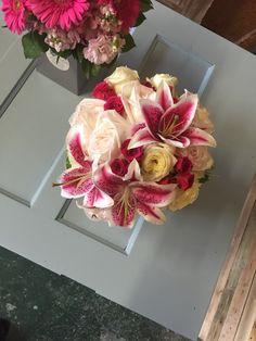 Wedding bouquet, brides bouquet, lilies, bold pink flowers, garden roses