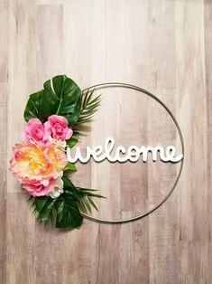 Modern Wreath - Modern Tropical Wreath, Peony Wreath, Monstera Leaf Decor, Spring Wreath, Simple Front Door Wreath, Minimalist Wall Decor, by BlissfulPerfections on Etsy