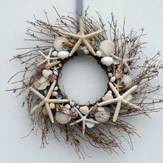 Seashell wreath starfish wreath shell wreath by BeachNCreations Starfish Wreath, Coastal Wreath, Fun Crafts, Amazing Crafts, Shell Crafts, Craft Organization, Grapevine Wreath, Sea Shells, Projects To Try