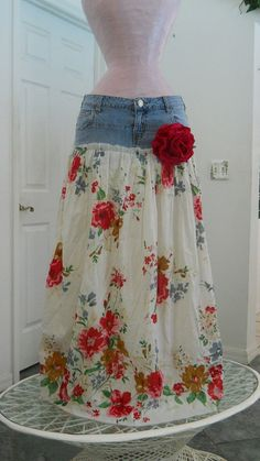 refashion from old jeans-now this is adorable and would be a great idea for girls as their pants get too short but the waist still fits