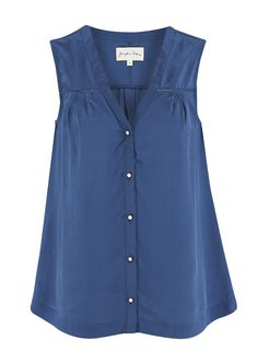 JUNIPER ROSE Quinny Silk Sleeveless Top - Blue in To-Be-Confirmed