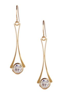 14K Yellow Gold Wishbone Dangle CZ Earrings by Candela on @HauteLook