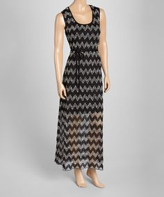 Another great find on #zulily! Black & Ivory Chevron Maxi Dress by Halo #zulilyfinds