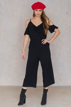 f1013d486ba Item Boohoo Cold Shoulder Ruffle Culotte Jumpsuit - Black Black Jumpsuit