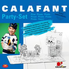 #CALAFANT Party Set - Pirates Single pack.  It's a wild #Pirate #party! You will have great #fun #building and #decorating the pirate #ship, #treasurechest and the included #pirate characters! Have your pirates hunt for treasures according to the included #treasuremap and fill their chests with #loot. Item no. G4001X. Size: approx. 46 x 25 x 21 cm. Material: white #cardboard with printed lines.