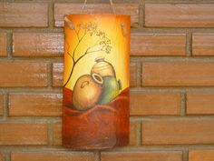 Manualidades Eli´s: Tejas decoradas Slate Signs, Clay Pots, Pictures To Paint, Rock Art, Pillar Candles, Lighthouse, Decoupage, Lily, Tile Painting